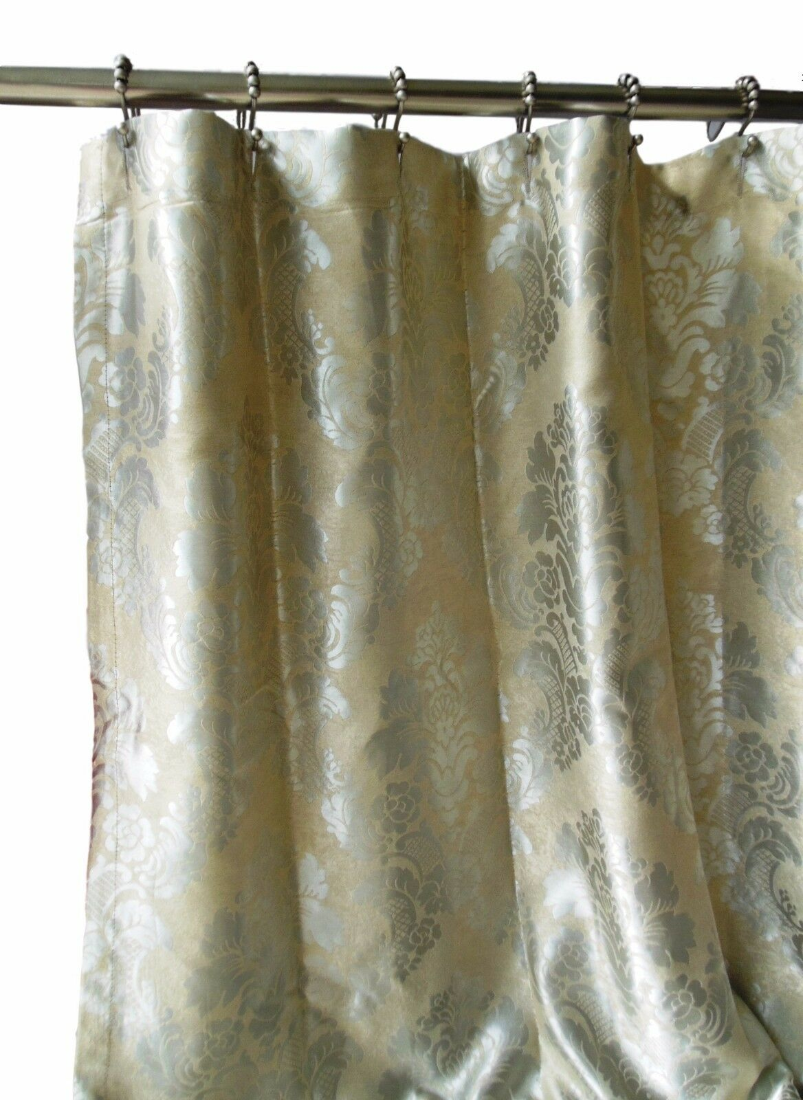 Luxury Shabby Chic Fabric Shower Curtain Damask Jacquard High Quality Silver Tan