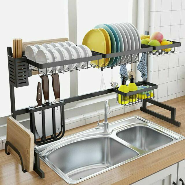 dish drying rack over sink black