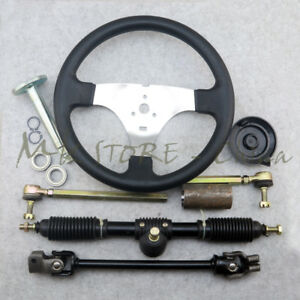 details about steering wheel 420mm gear rack pinion u joint tie rod knuckle assy go kart buggy