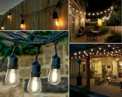 48 ft led string lights outdoor patio yard commercial grade waterproof bulbs new ebay