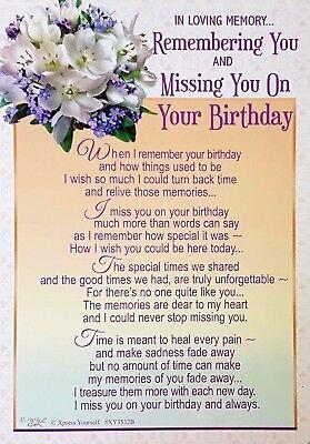 Memorial Grave Card Missing You On Your Birthday Loving Memory Remember Keepsake 5035499023464 Ebay