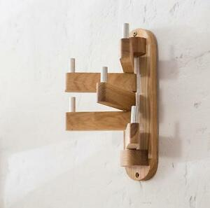 details about rotatable wood oak coat rack hanger stand clothes hook modern wall mounted