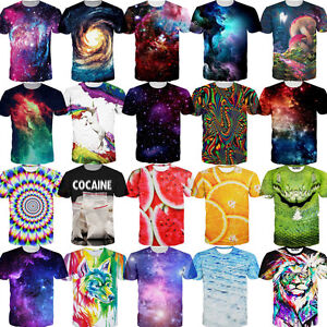 Nebula Abstract 3D Graphic Print Men Women Casual Short Sleeve Tees Tops T-Shirt