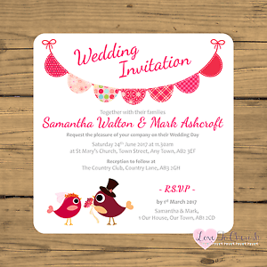 Details About Personalised Wedding Invites Cute Bride Groom Birds Bunting Ceremony Invitations