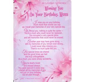 Graveside Card Missing You On Your Birthday Mum Memory Grave Verse Poem Memoriam 5035499023457 Ebay