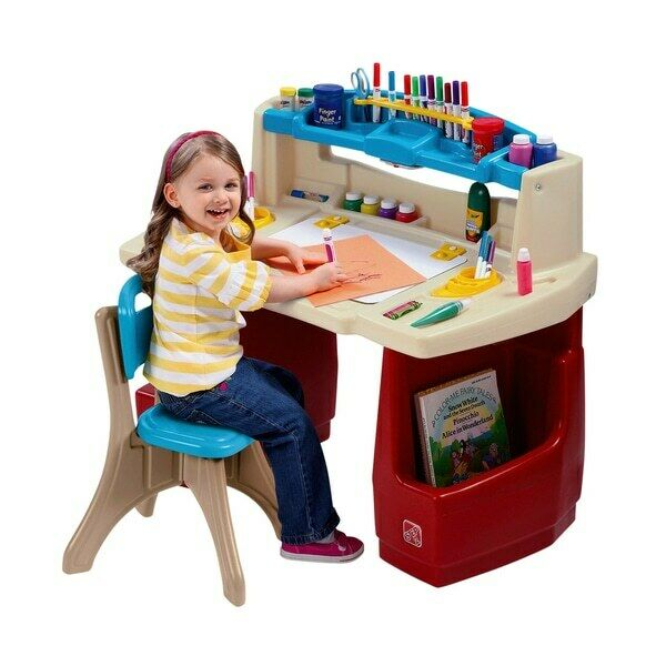 step 2 deluxe art activity table desk childrens play chair toddler kids boy girl