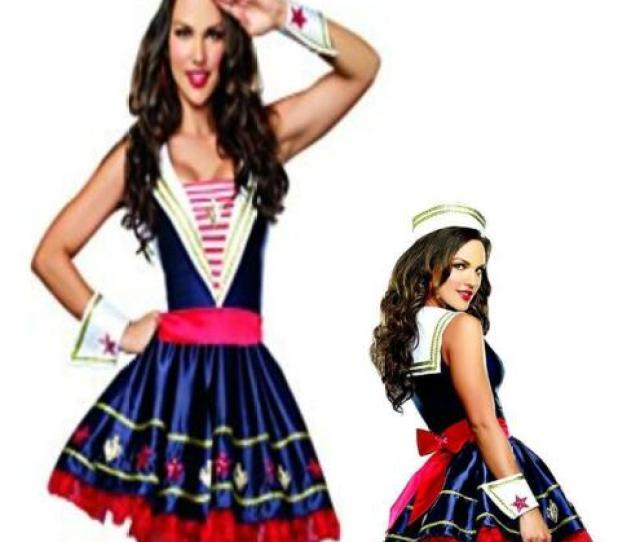Sexy Shore Thing Navy Blue Sailor Nautical Dress M L Xl Adult Womens Costume N8