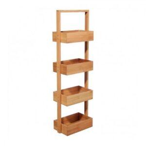 Meuble Etagere Armoire 4 Cases En Bambou Rangement Salle De Bain Five Ebay
