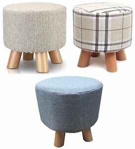 details about shabby chic small ottoman round pouffe wooden footstool stool wooden leg padded