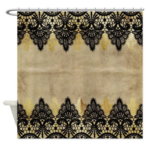 cafepress black and gold lace on grungy old p shower curtain 1801648851 bathroom supplies accessories garden curtains