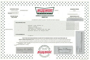 Details About Krispy Kreme Doughnuts Stock Certificate