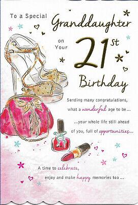 Granddaughter 21st Happy Birthday Greeting Card 9 By 6 Free P P Ebay