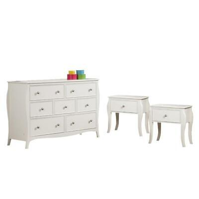 dominique 3 piece set of 2 night stand and dresser set in white 684357122983 ebay