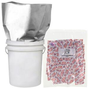 5-5 GALLON 20x30 Mylar Bags + 5-2000 cc Oxygen Absorbers Long Term Food Storage