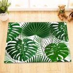 Tropical Monstera Palm Leaves Bath Mat Rug Non Slip Home Decor Bathroom Carpet