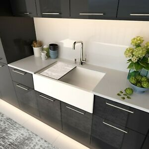 details about new 33 granite composite workstation farmhouse kitchen sink white italian made
