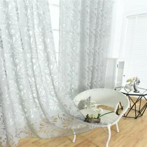 details sur rideaux voilages de fenetre a fleur en gaze decor pour chambre salon gris