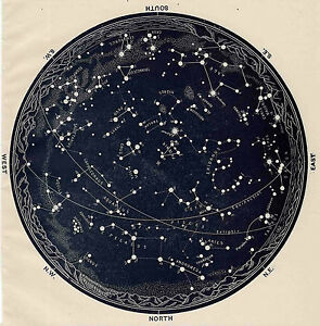 details about poster vintage 1963 constellations star map zodiac galaxy universe moon mars