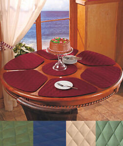 details about 7 pc round table wedge shaped placemat set in hand 6 quilted ctr trivet kitchen