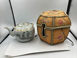 Antique Porcelain Chinese Teapot W/ Silk Embroiled Cozy Carrier