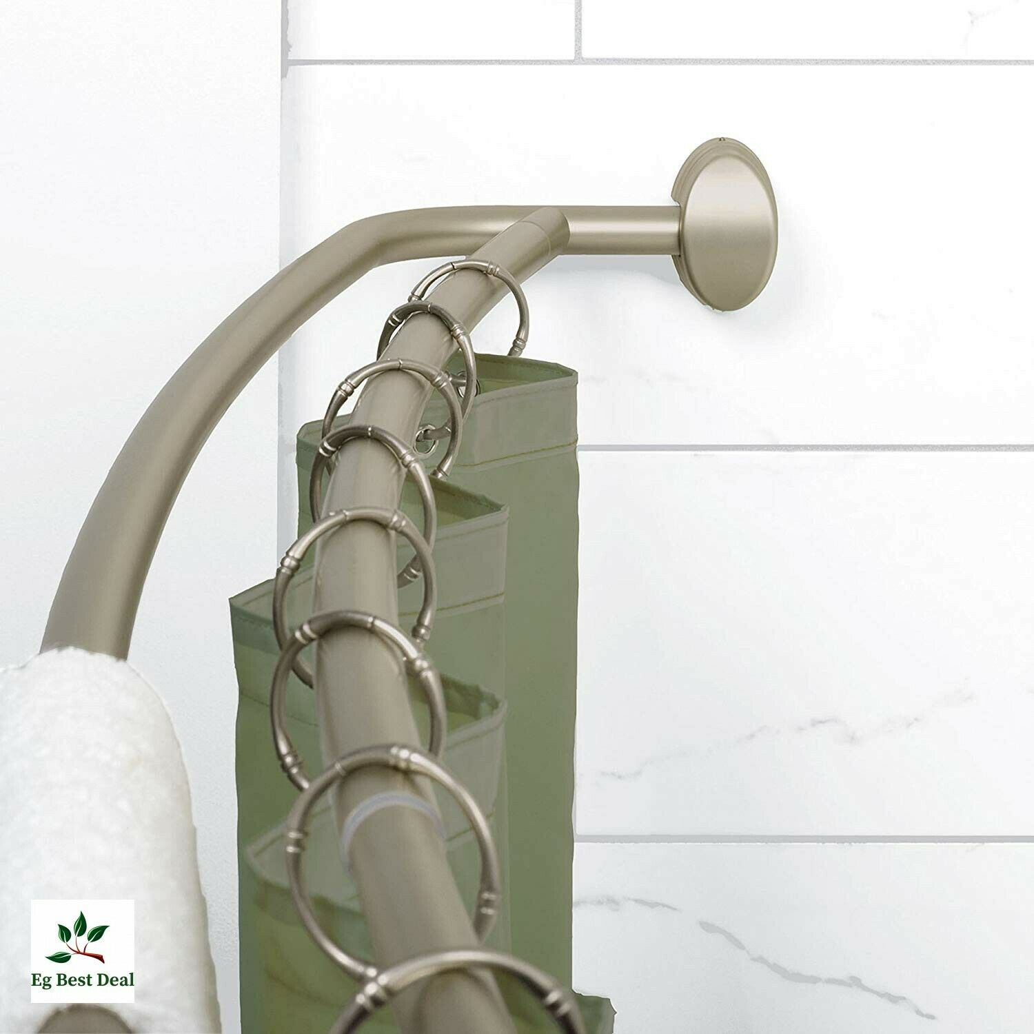 Shower Curtain Rod Curved Double No Rust 45 To 72 Bowed Aluminum Brushed Nickel