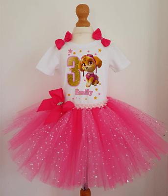 Girl Paw Patrol Skye Birthday Tutu Dress Set Girls Birthday Outfit Costume Ebay
