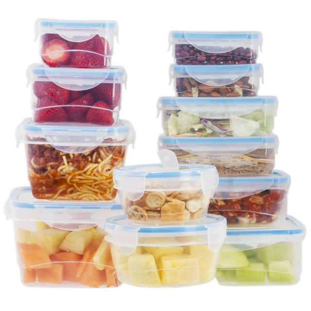 24 Pcs Plastic Food Storage Containers Set With Blue Air Tight Locking Lids 2