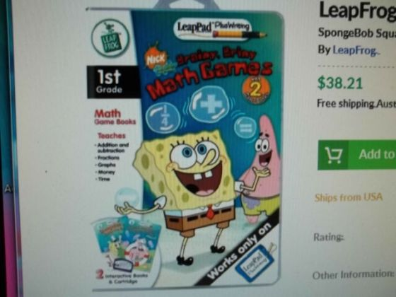 LeapFrog Sponge Bob Plus Writing Brainy Briny Math Games Grade 1     Leap Pad Plus Writing Nick Brainy Briny Math Games SpongeBob TWO Books  NEW