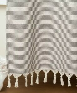 details about hearth hand with magnolia gray railroad stripe shower curtain knotted fringe