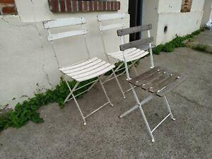 lot 3 chaises de bistrot pliante bois