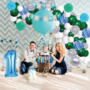 1st Birthday Boy Baby Decorations With Crown First Birthday Party Supplies Blue Ebay