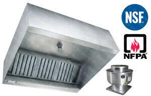 details about 20 ft restaurant commercial kitchen exhaust hood with captiveaire fan 5000 cfm