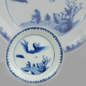 Antique Chinese Porcelain Ming Wanli / Tianqi Playing Go Landscape Plate...
