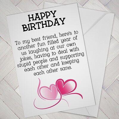 Best Friend Birthday Card Friends Funny Mate Female Girl Support Mates Freind Ebay