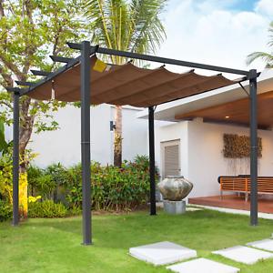 details about metal garden pergola 3x3 waterproof roof retractable canopy outdoor patio gazebo