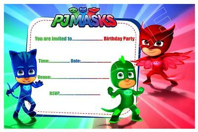 1 x pj masks childrens blank fill in diy birthday invitations free magnets ebay