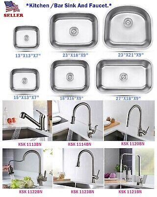 304 stainless steel undermount single bowl kitchen bar sink faucet variety size ebay