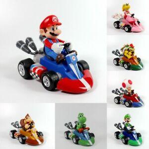 Super Mario Kart Luigi Yoshi Peach Toad Bowser Pull Back Car Figure Kid Gift Toy Ebay