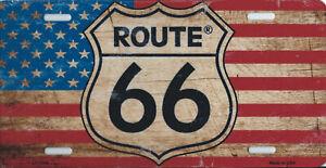details sur plaque de voiture americaine route 66 deco usa biker moto w