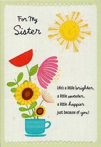 Hallmark Happy Birthday Sister Sun With Happy Face Sun Flower Greeting Card Ebay
