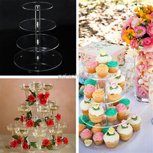3 4 5 Tier Acryli Cake Stand Birthday Wedding Party Cupcake Tower     Image is loading 3 4 5 Tier Acryli Cake Stand Birthday