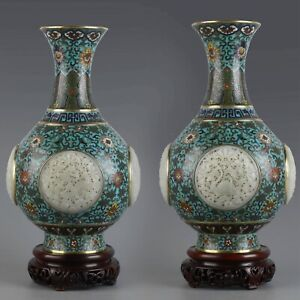 "12"" Pair of Antique Chinese Bronze Gilt Cloisonne inlay Hetian Jade Vase"