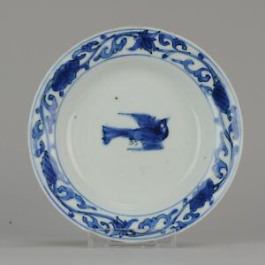 Antique Chinese Porcelain Late Ming Wanli Tianqi or Transitional Bird Pl...