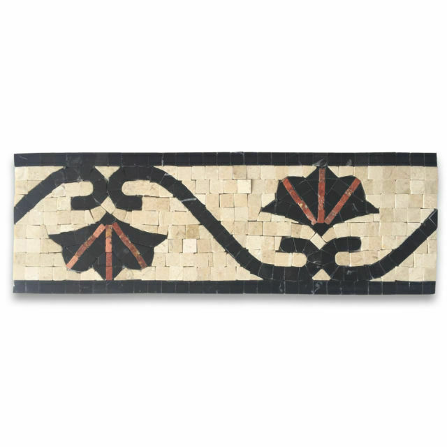 b0080p carnation red 4x12 marble mosaic border listello tile polished