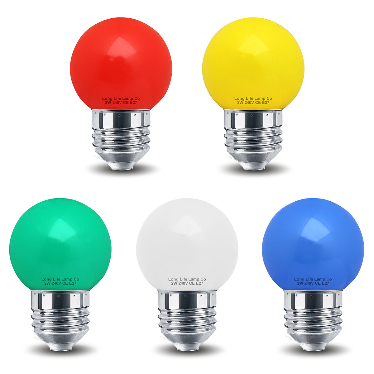 2w Led Mini Golf Ball Light Bulb E27 Colour Golfball Red