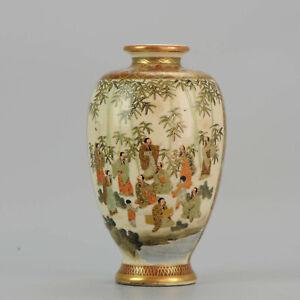 Antique Meiji 19th c Japanese Satsuma Vase Wise Figures Marked Base[:zh...