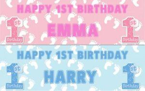 2 Personalised Happy 1st Birthday Banners Celebrate Boy Or Girl First Birthday Ebay
