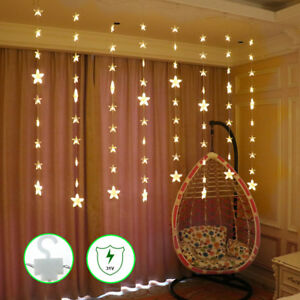 details about bedroom christmas led star curtain string window wall lights twinkle with hooks