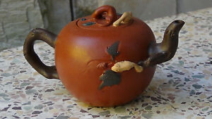 EARLY 20c CHINESE BROWN YIXING TEAPOT W/SQUIRRELS BETWEEN GREEN LEAVES,MARKED