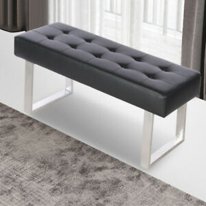 details about pu leather footrest stool piano chair coffee table ottoman bench metal legs uk